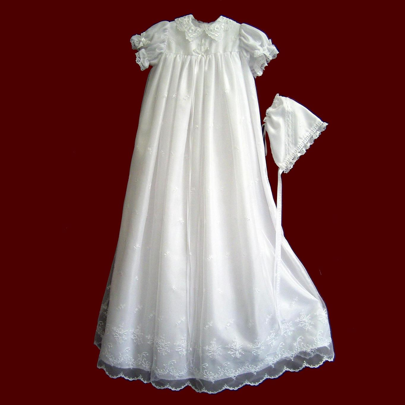 Embroidered Netting Christening Gown - Girls Christening Gowns - Smocked Treasures