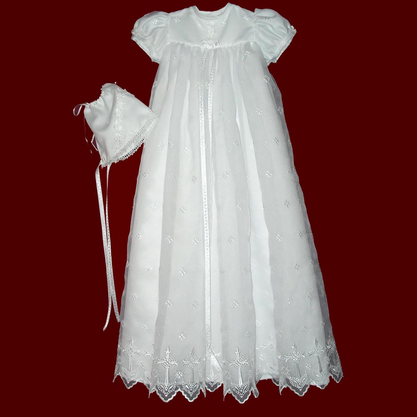 Embroidered Organza with Crosses Christening Gown - Girls ...