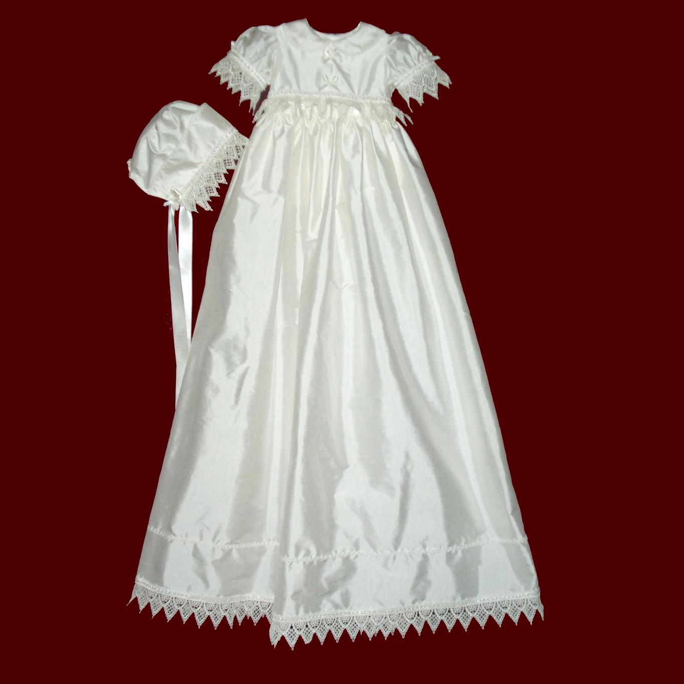 Girls Silk Christening Ensemble with Venice Lace and Detachable Gown