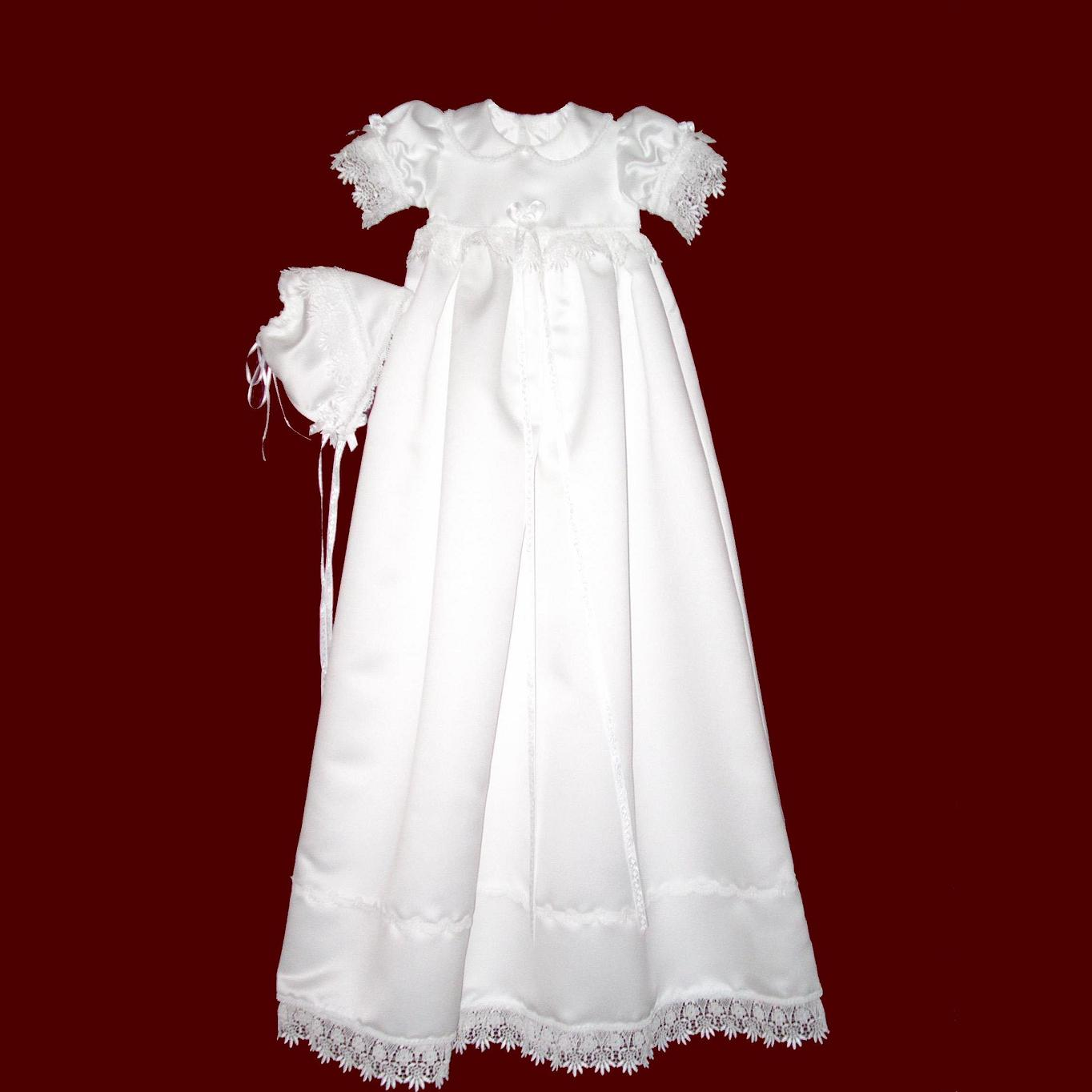 Girls Satin Christening Gown with Venice Lace and Bonnet