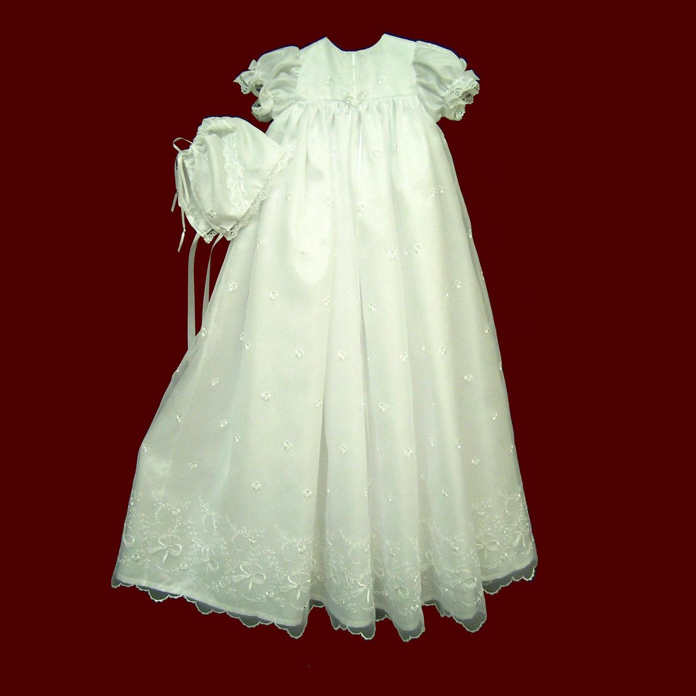 Embroidered Organza Christening Gown and Hat