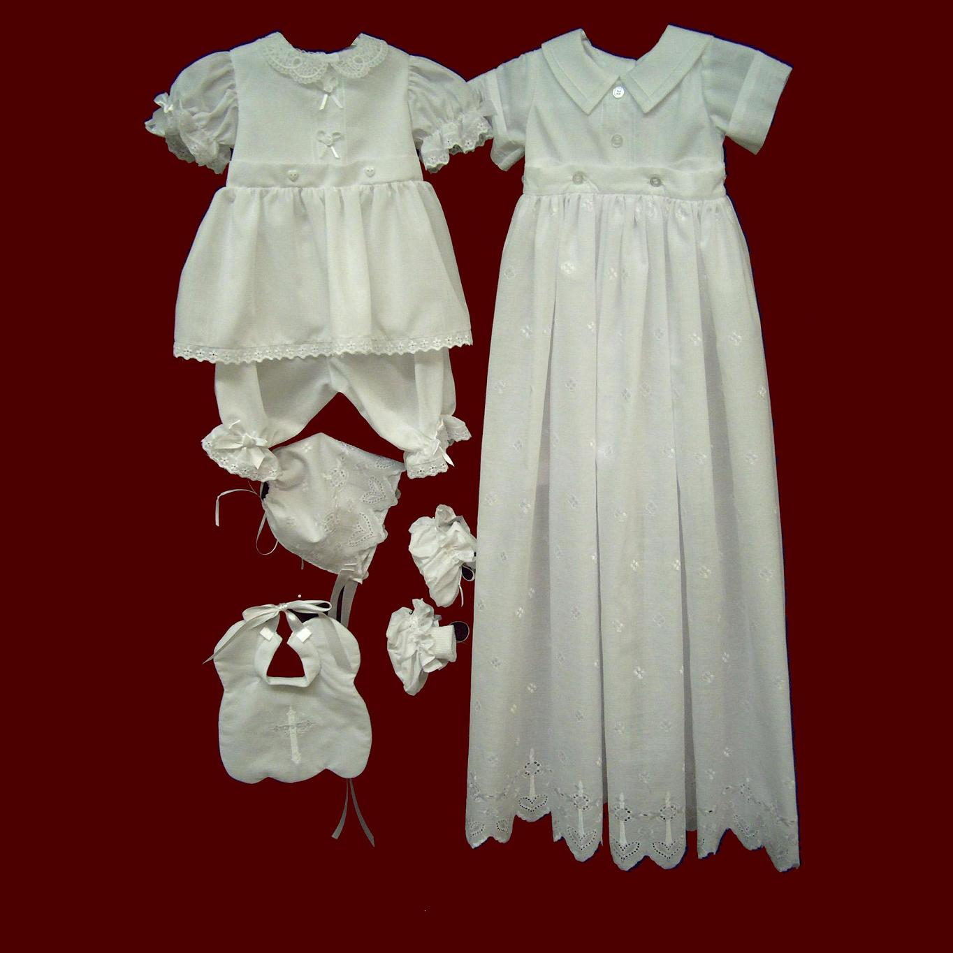 Boy and Girls Christening Ensemble with Detachable Gown and Cross Embroidered Bonnet