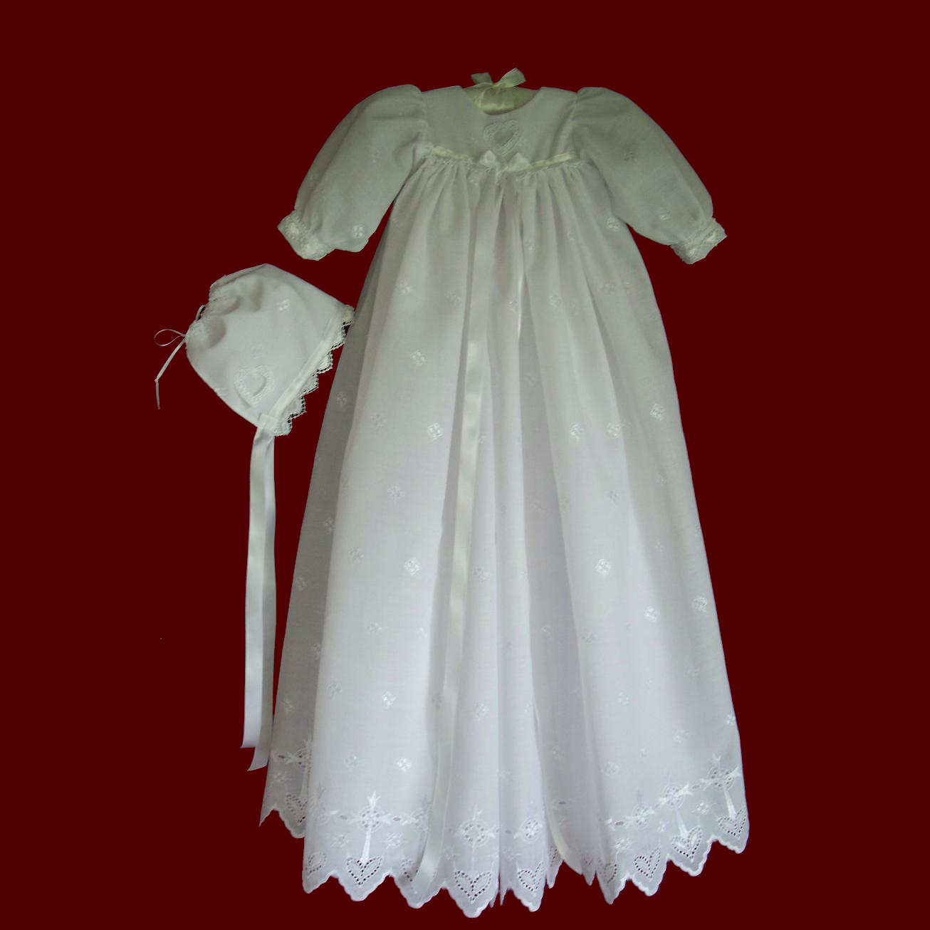 Embroidered Cross / Heart Eyelet Christening Gown