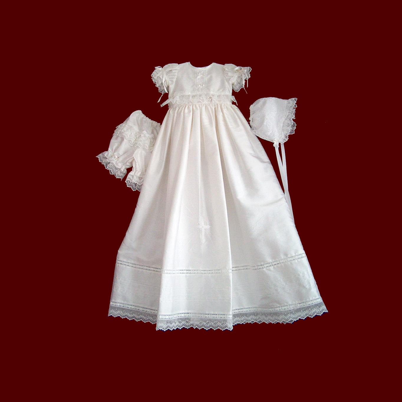 Girls Christening Ensemble with Detachable Gown & Bonnet