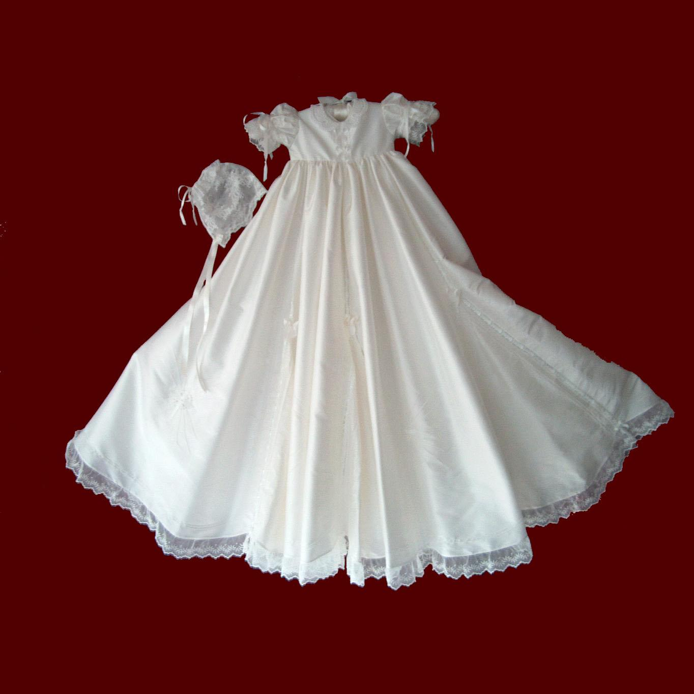 Christening Gowns From Wedding Dresses: Girls Silk Christening Gown With Gores & Godets