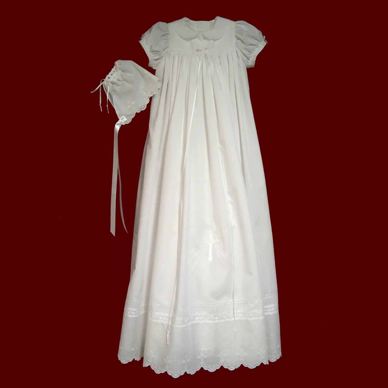 Christening Gowns From Wedding Dresses: Cotton Batiste Christening Gown With Embroidered Cross