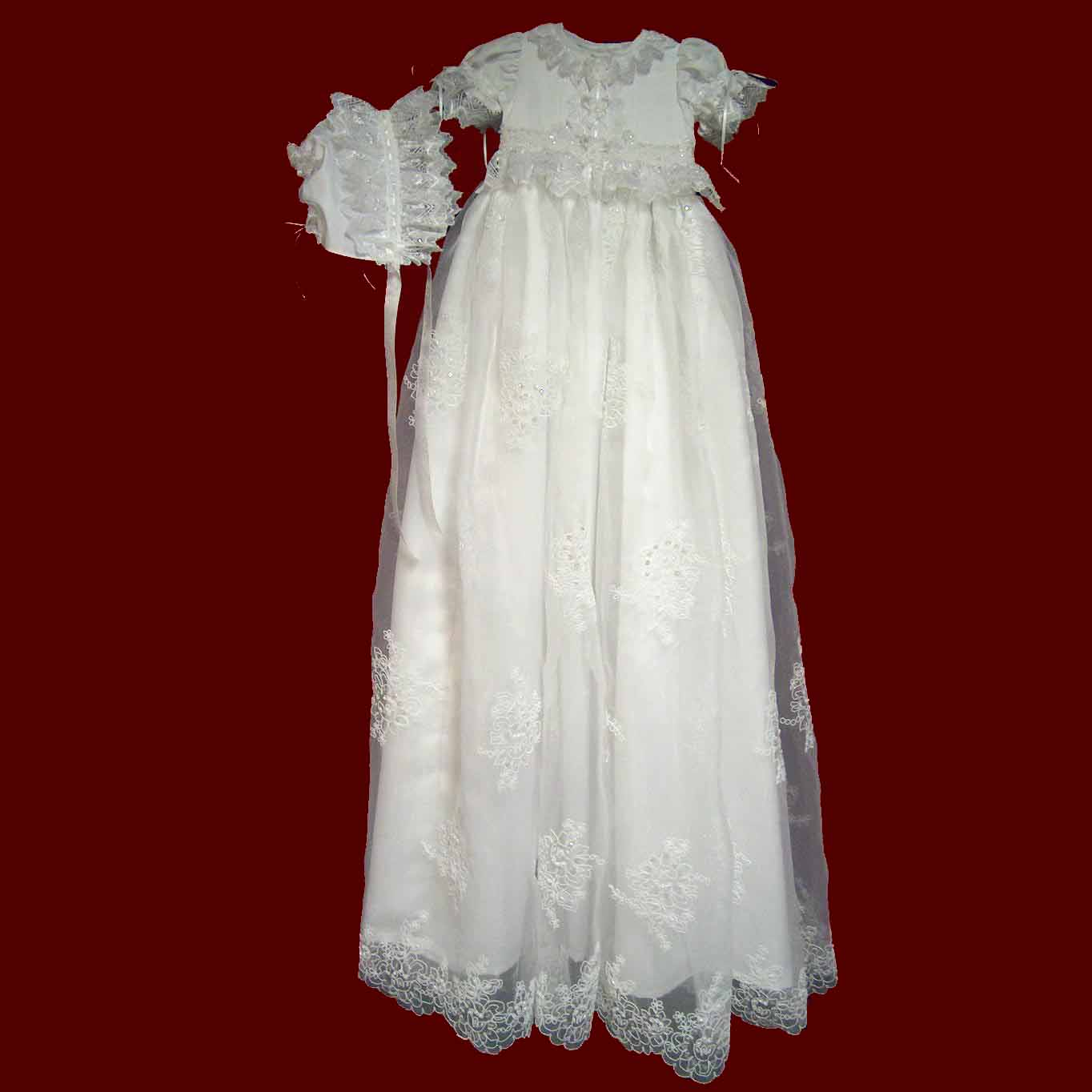 Beaded Organza Girls Christening Ensemble with Detachable Gown