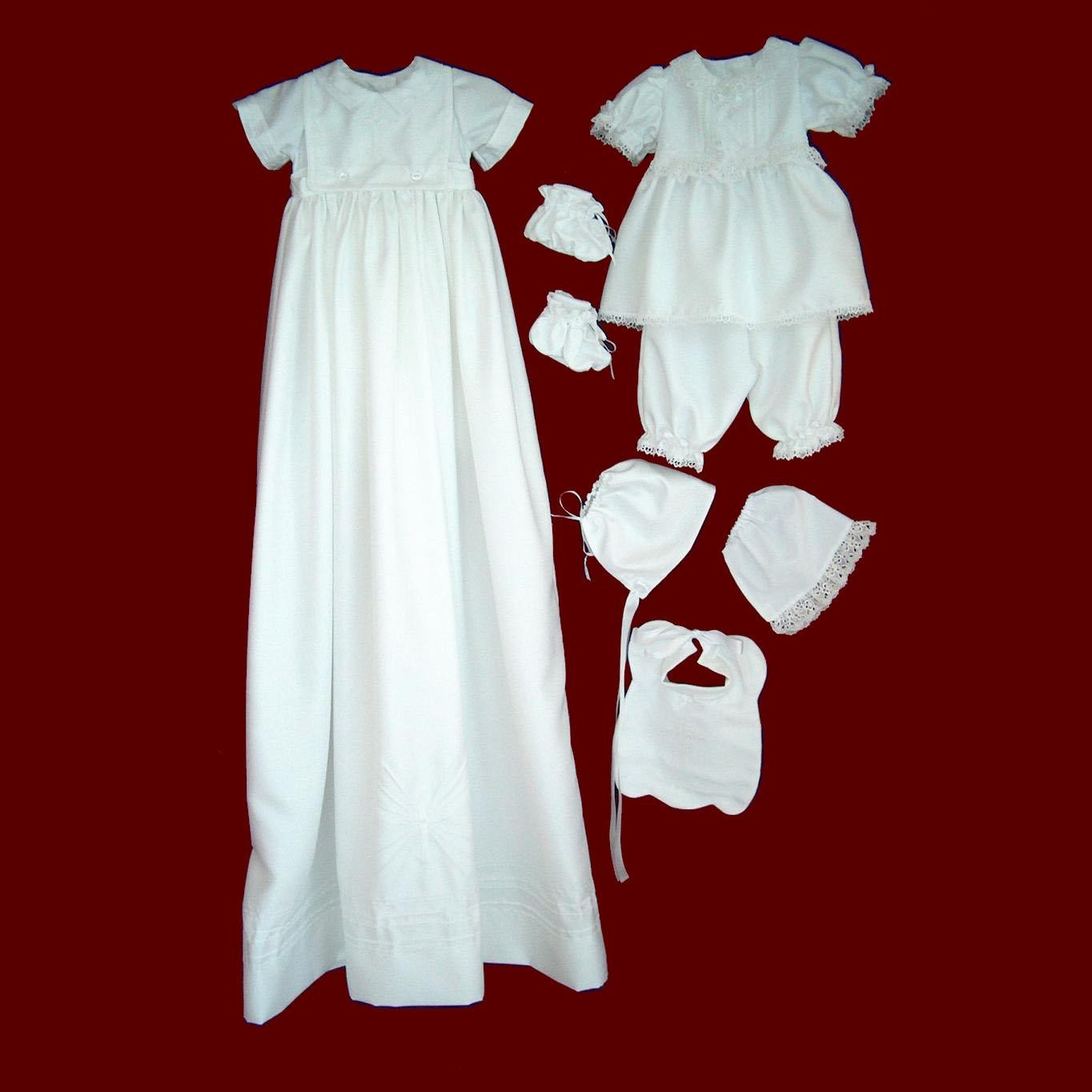 Shantung Boy/Girl Christening Ensemble with Detachable Gown & Accessories
