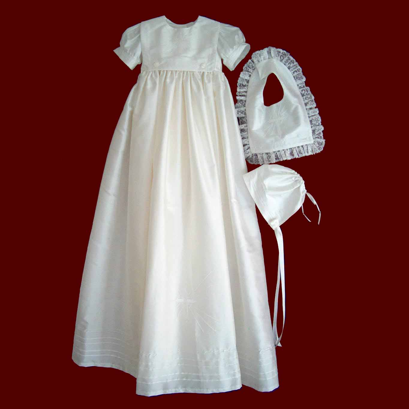Christening Gown with Detachable Boy and Girl Bibs & Bonnet