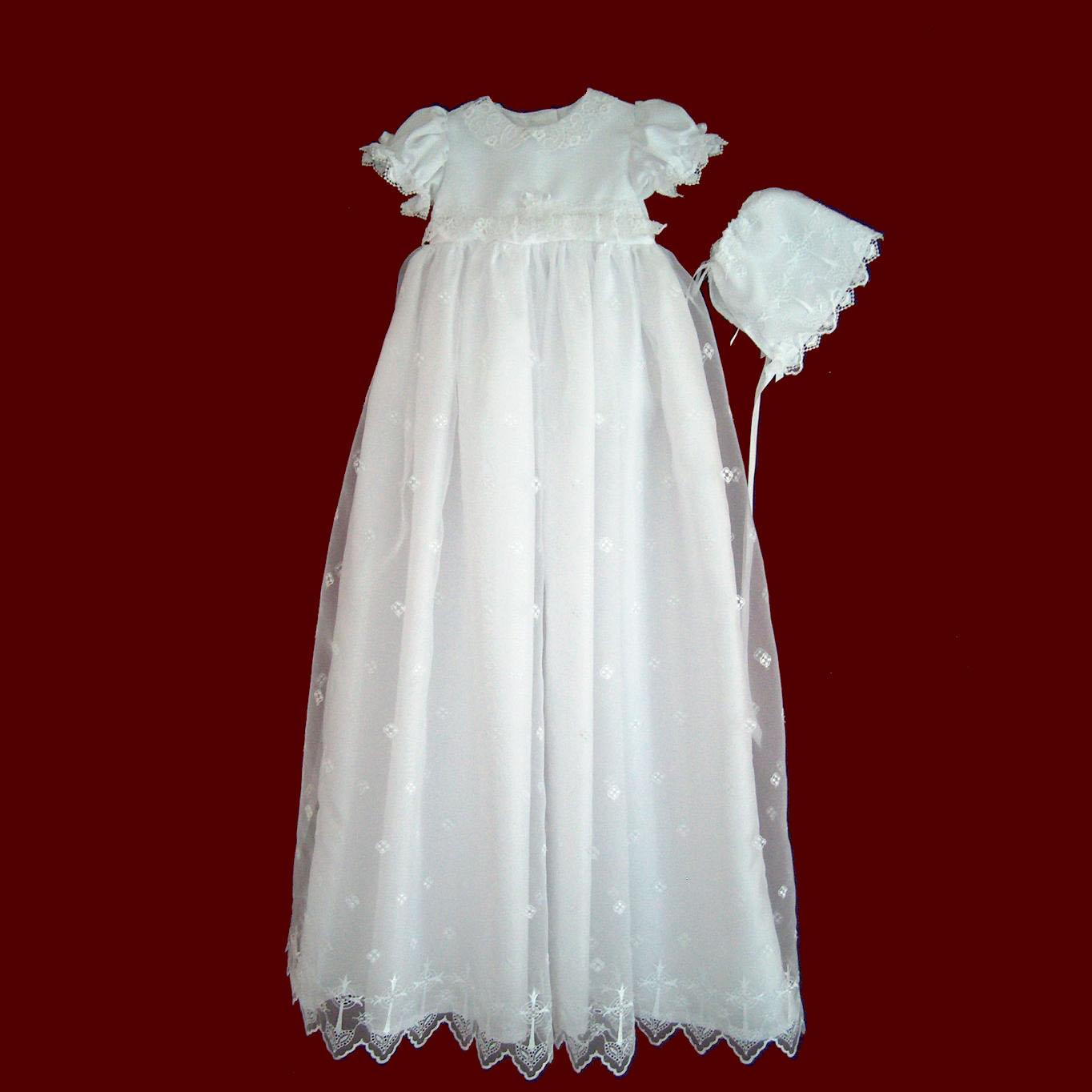 Girls Cross Embroidered Organza Detachable Christening Gown