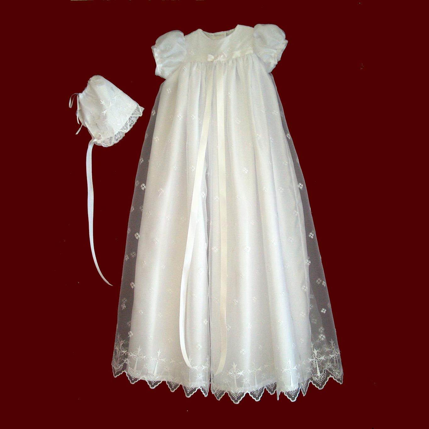 Christening Gowns From Wedding Dresses: Embroidered Organza Christening Gown With Crosses Gown