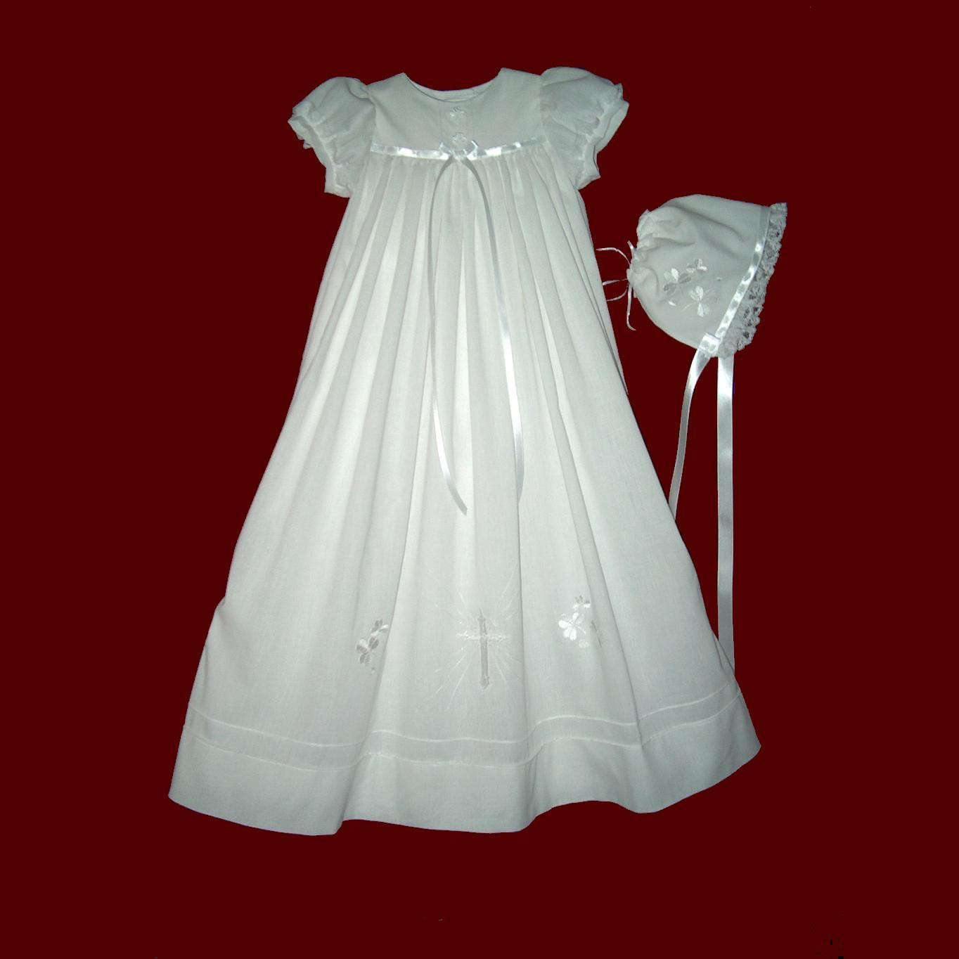 Linen Batiste Christening Gown with Embroidered Cross & Shamrocks ...