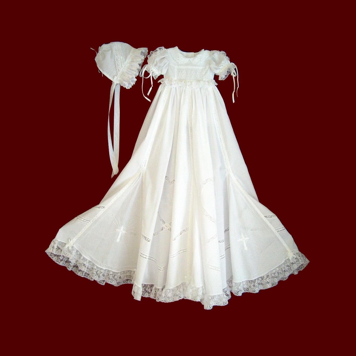 Elaborate Smocked & Embroidered Girls Christening Ensemble & Accessories
