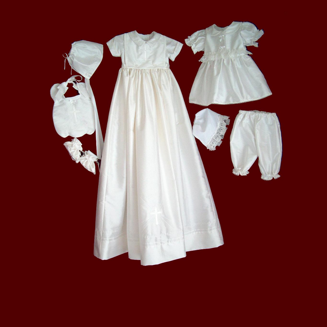 Ivory Boy & Girl Christening Ensemble with Detachable Gown & Accessories