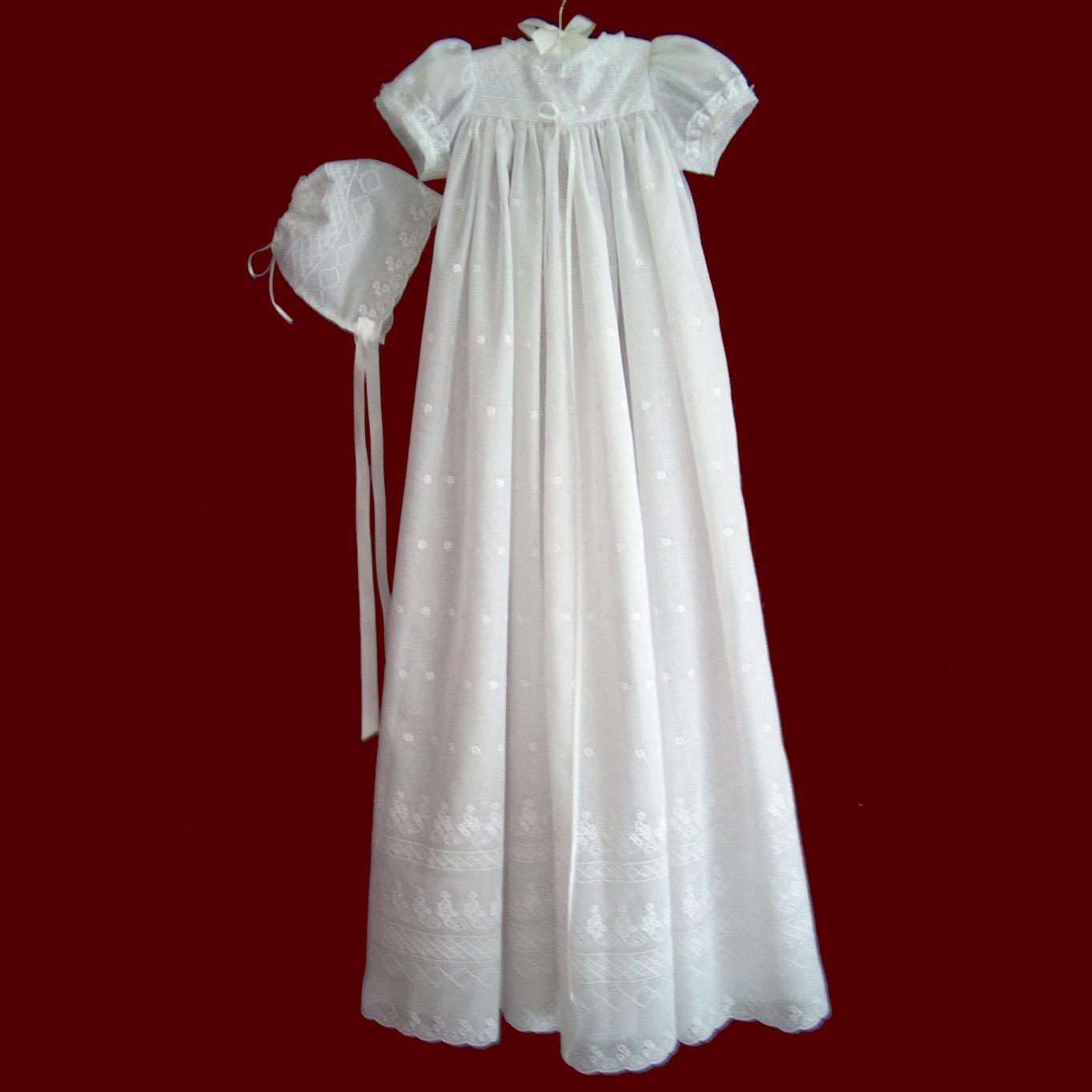 Embroidered Eyelet Christening Gown, Slip & Bonnet