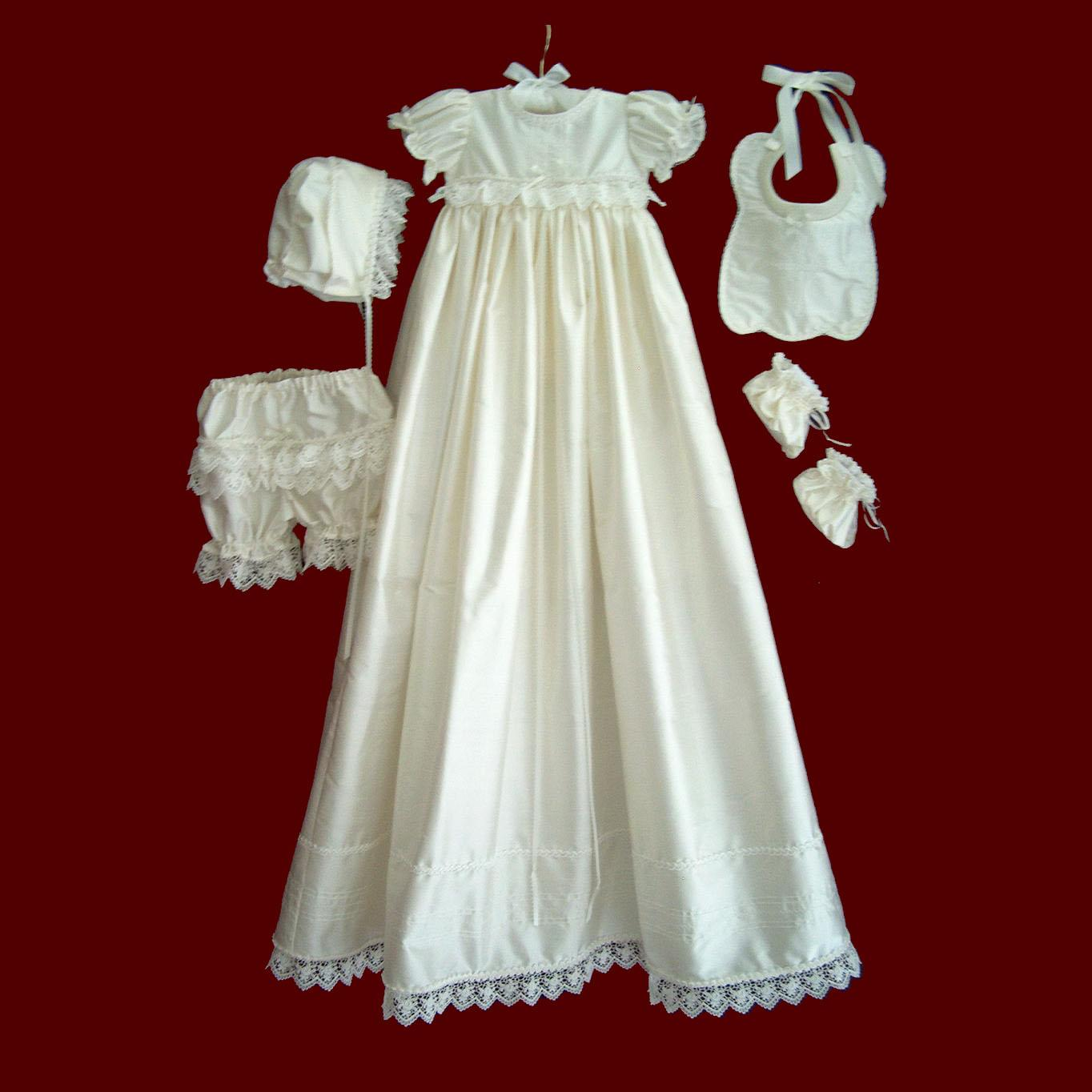 Ivory Silk Girls Christening Dress With Detachable Gown
