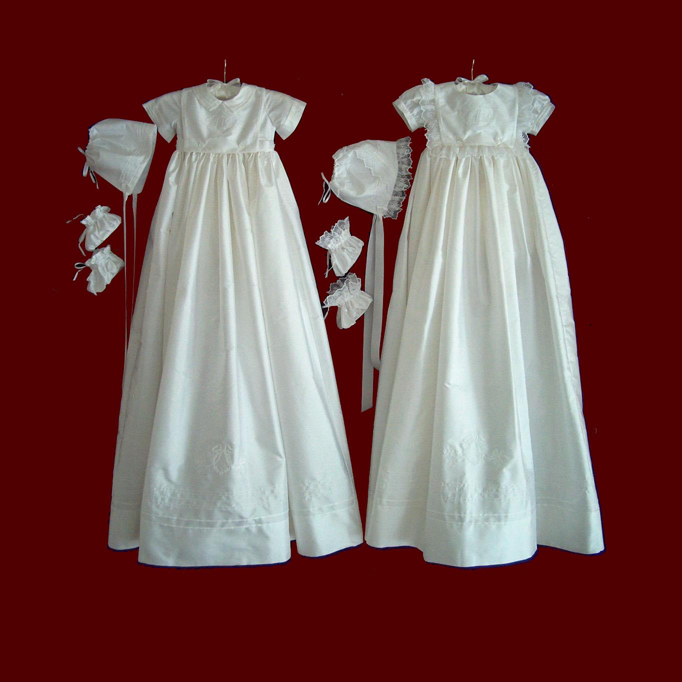 Boy and Girl Christening Ensemble with Detachable Bibs & Gown With Accessories