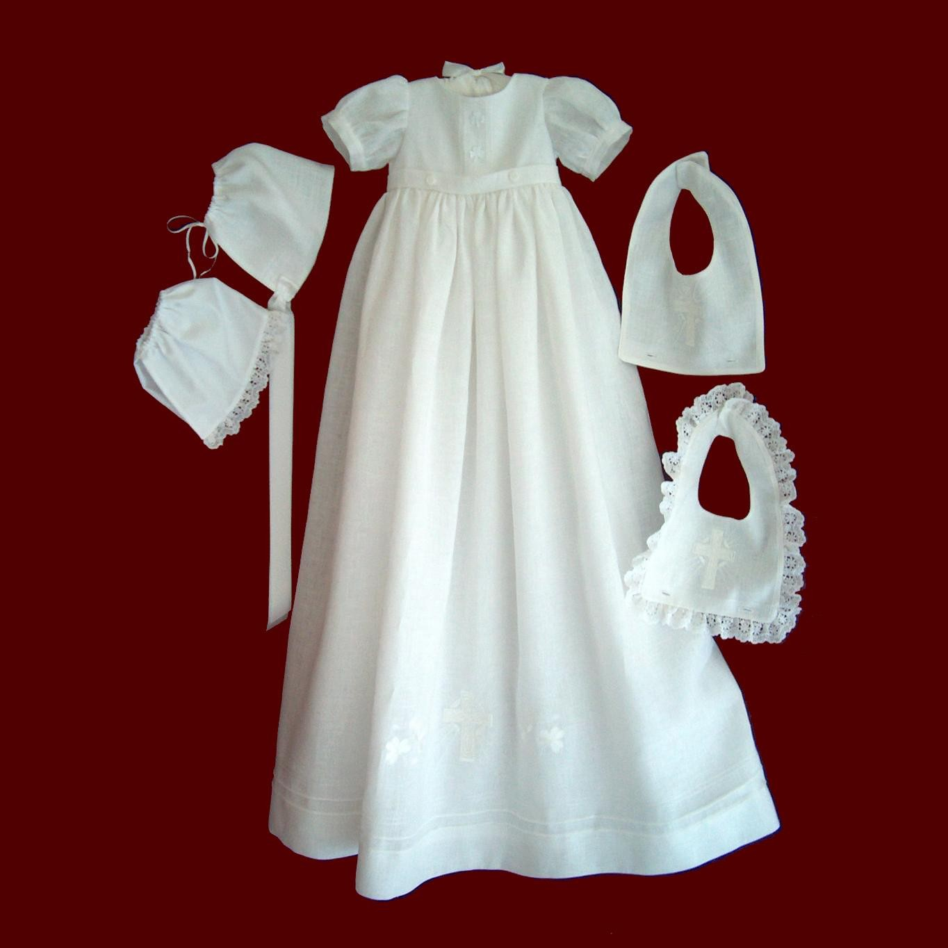Irish Linen Christening Gown With Boy & Girl Detachable Bibs, Slip & Bonnet