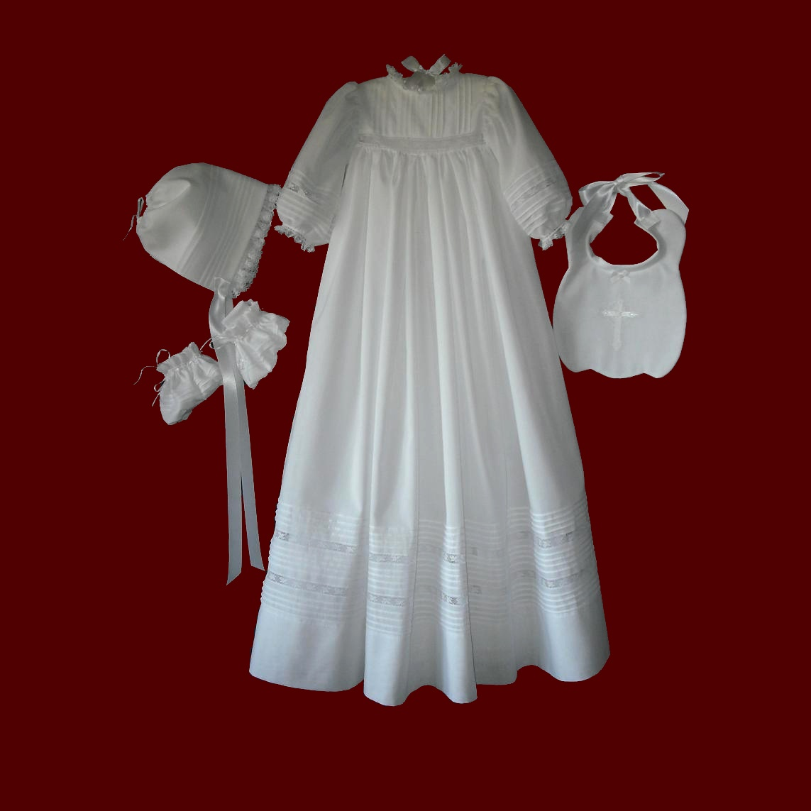 Swiss Batiste Christening Gown With Tucks & French Lace
