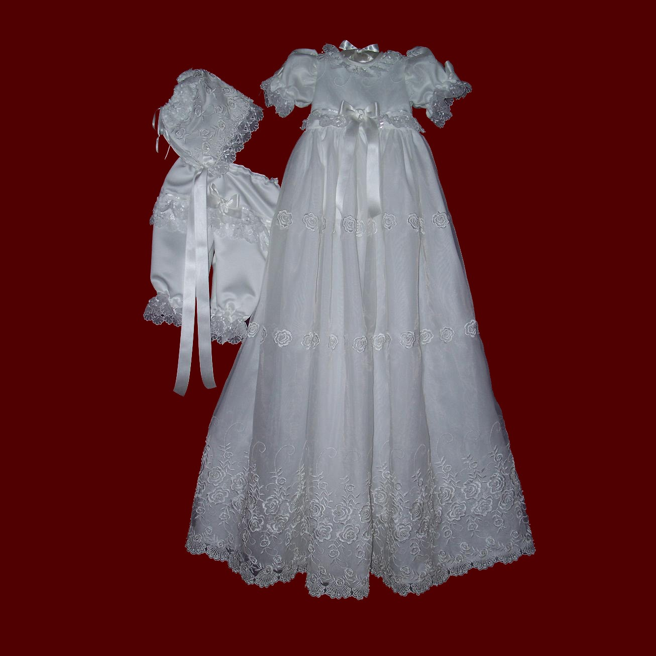 Click to Enlarge Picture - Embroidered & Beaded Organza Girls Christening Ensemble