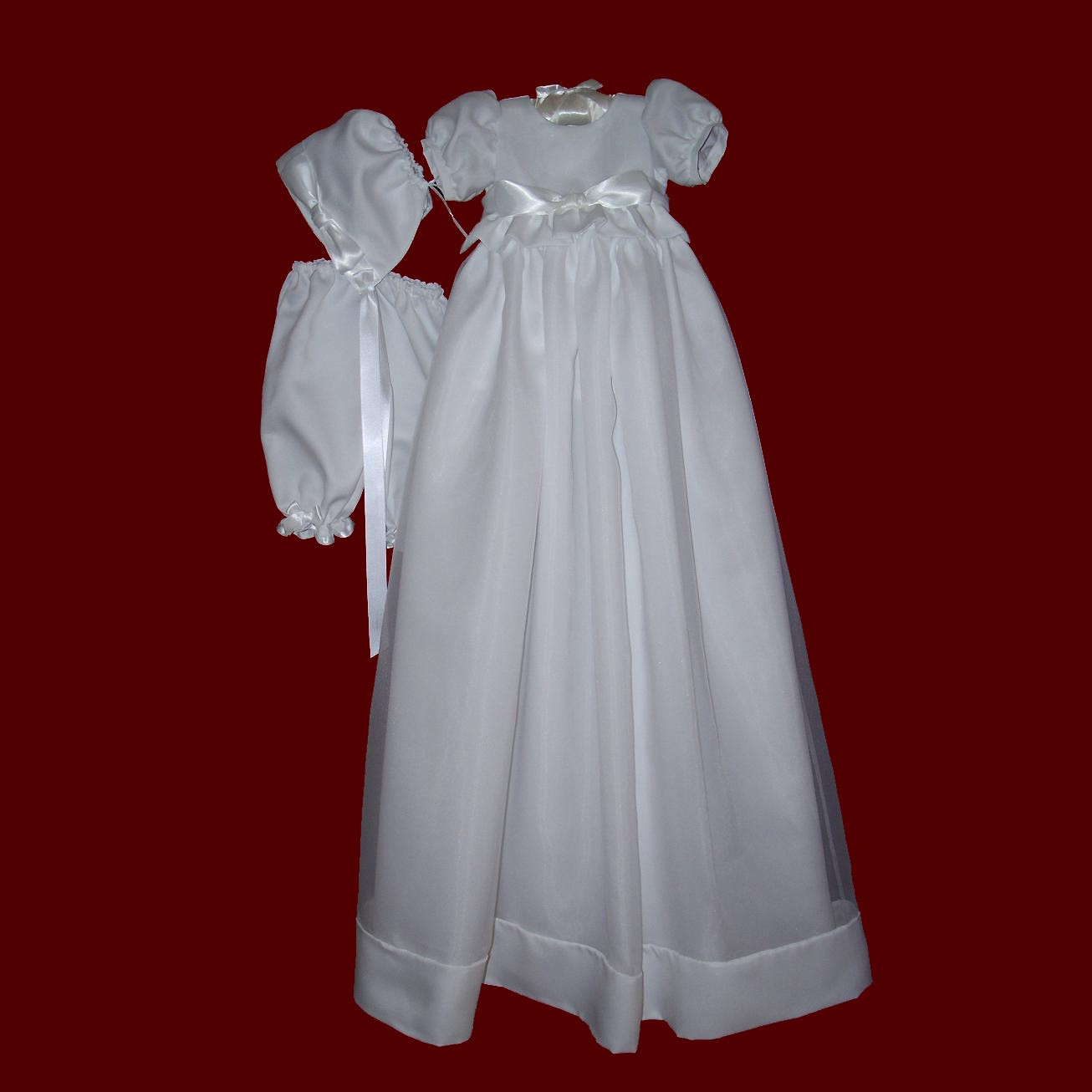 Satin Bow With Detachable Organza Christening Gown, Short dress & Bonnet