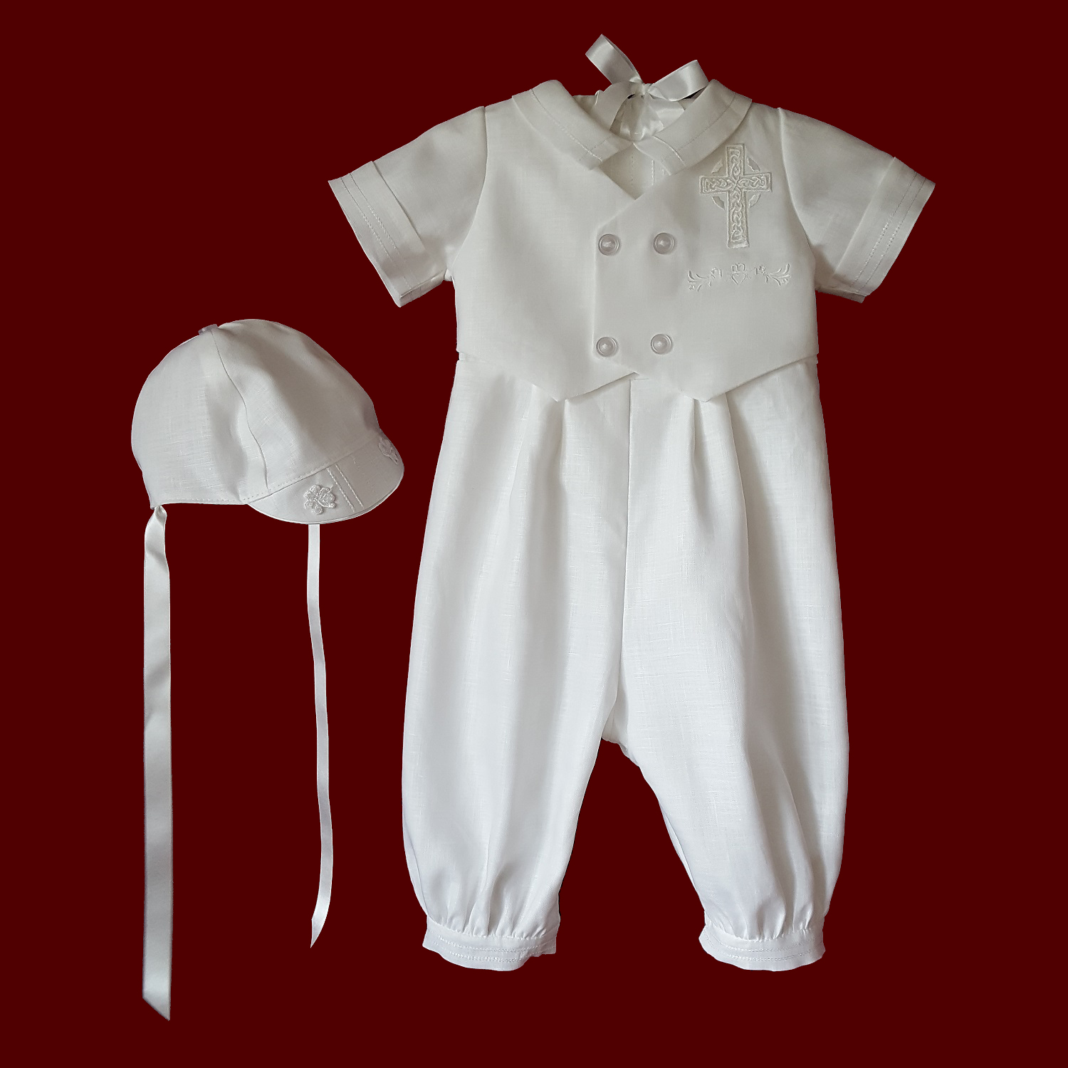 Boys Christening Romper & Vest With Embroidered Cross & Hat