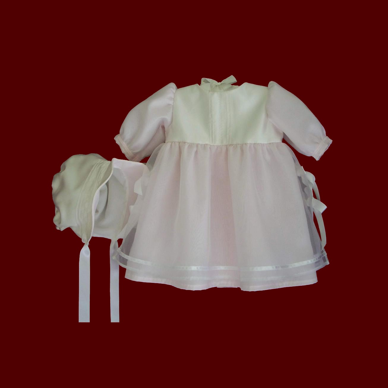 Silk Organza With Pink Batiste Girls Christening Gown, Slip & Bonnet