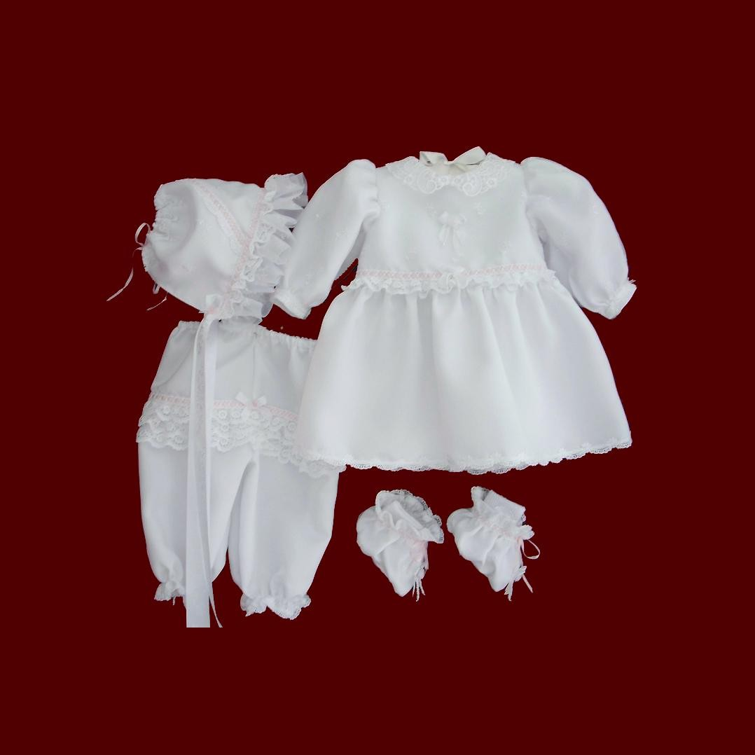 Girls Short Party Dress With Panties & Bonnet