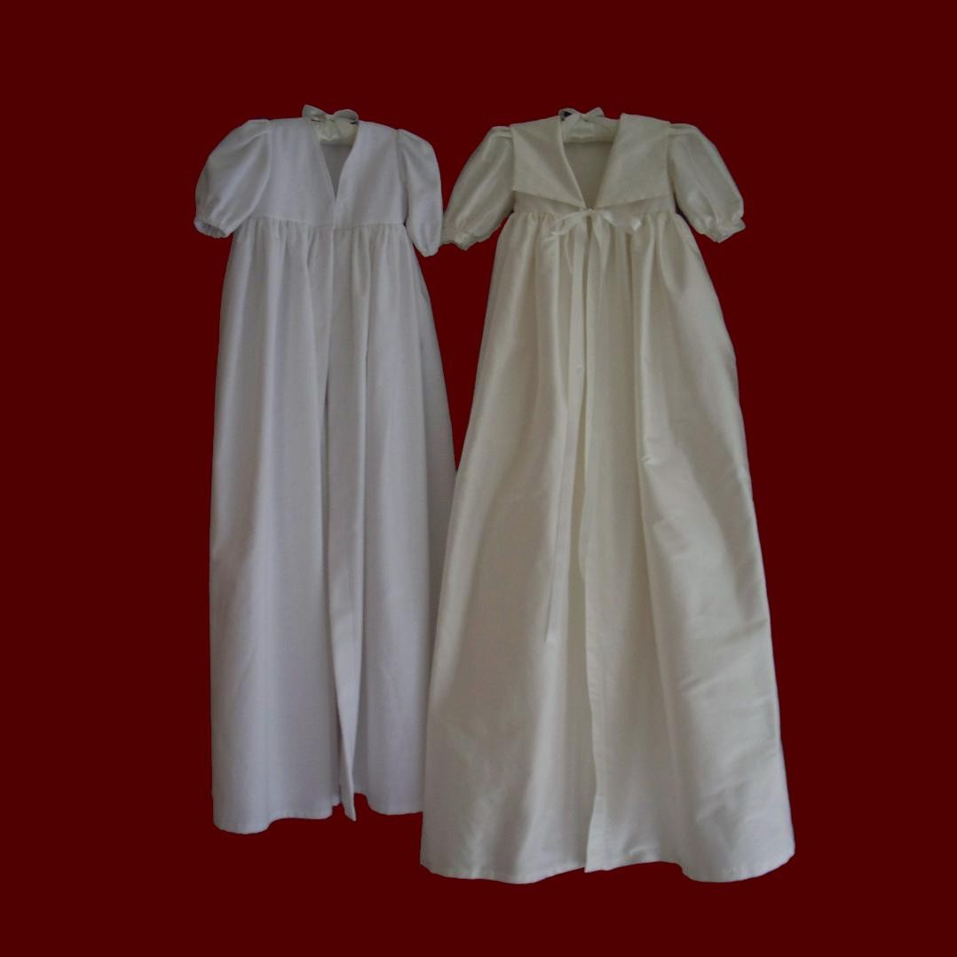 Ivory Silk Dupione Christening Coat With Silk Jacquard Accents