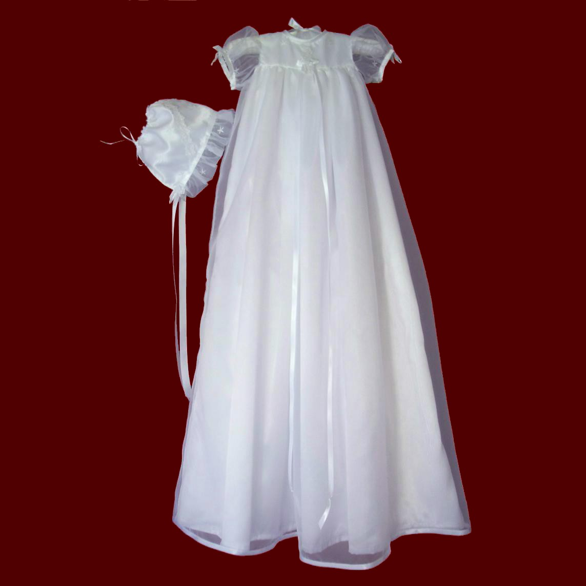 Sheer Organza Christening Gown With Ribbon Trim