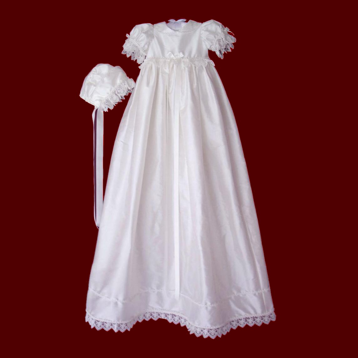 Silk Dupione Gown With Venice Lace & Pearl Trim