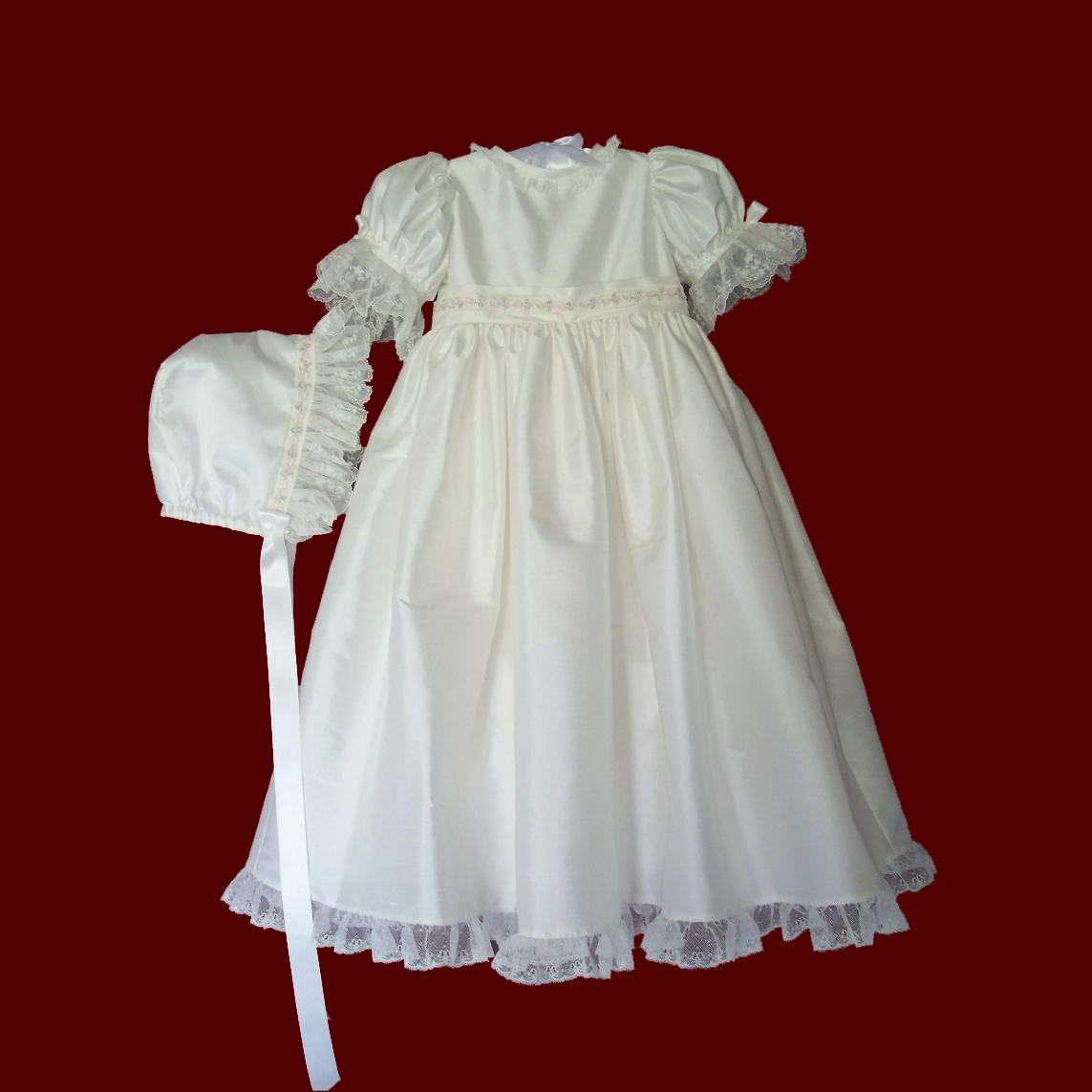 Embroidered Netting & Pink Rosebud Silk Christening Gown
