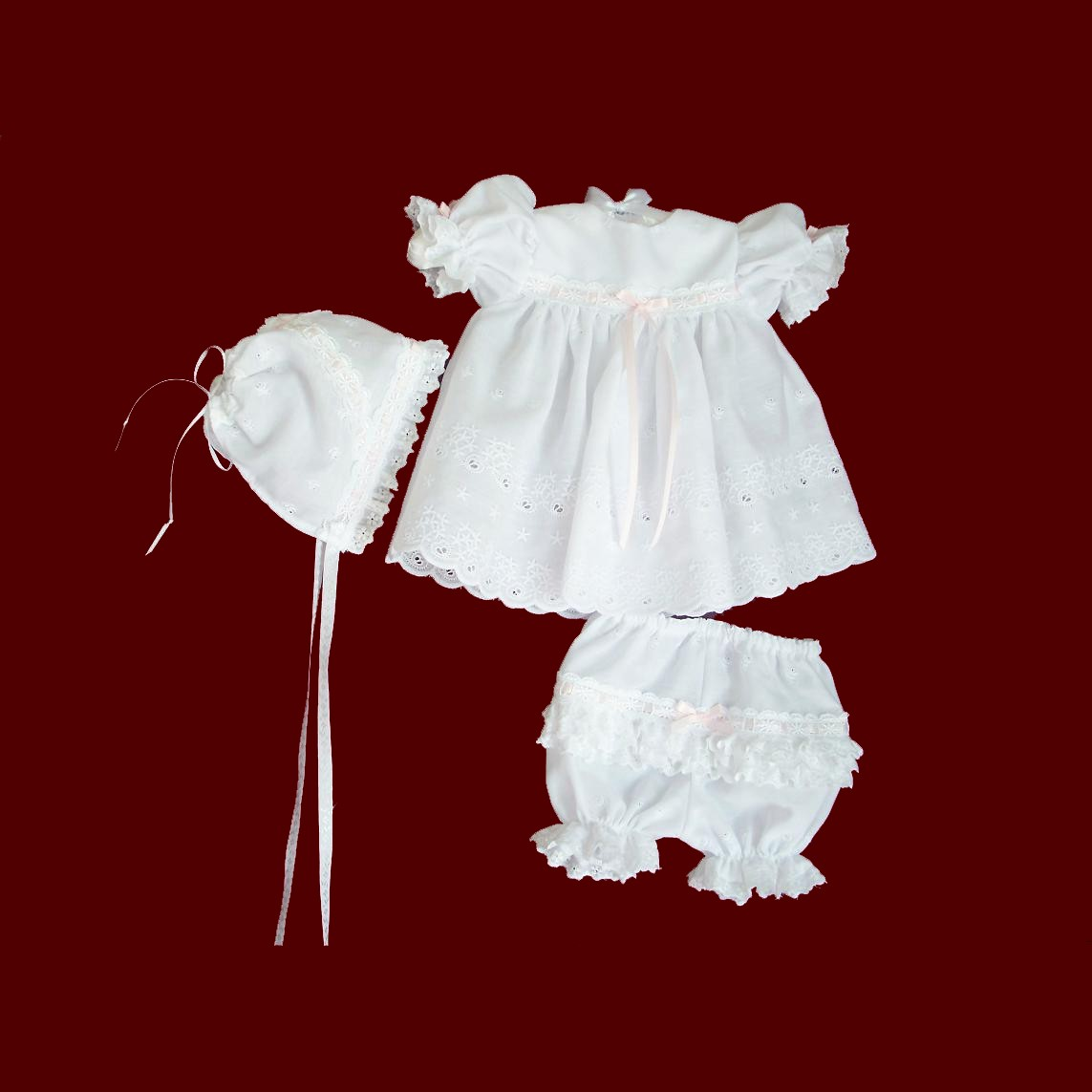 Eyelet Party Dress With Panties & Bonnet