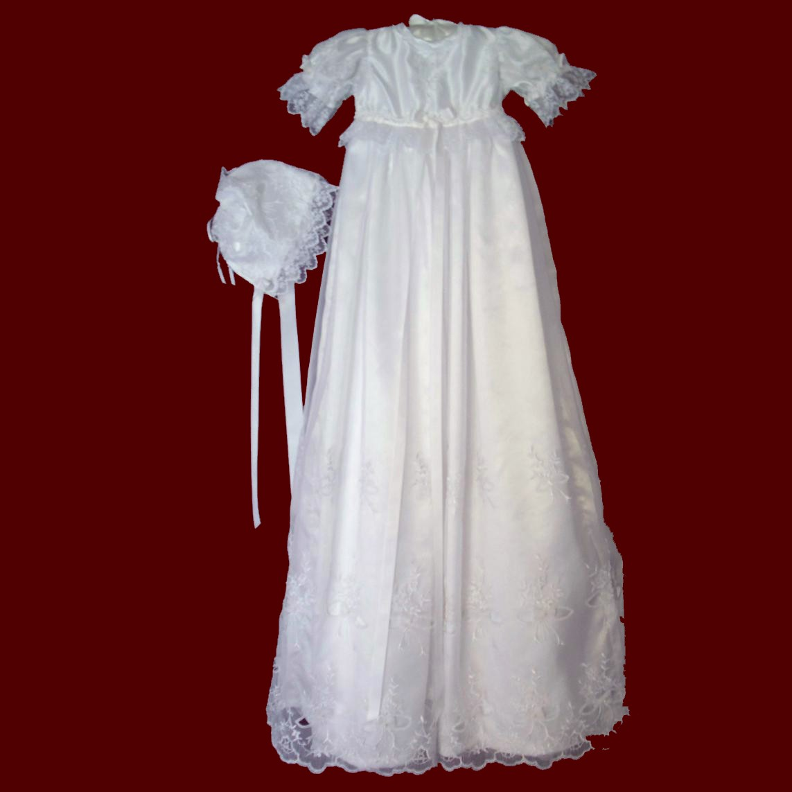 Cutwork bows organza christening gown girls christening for Making baptism dress from wedding gown