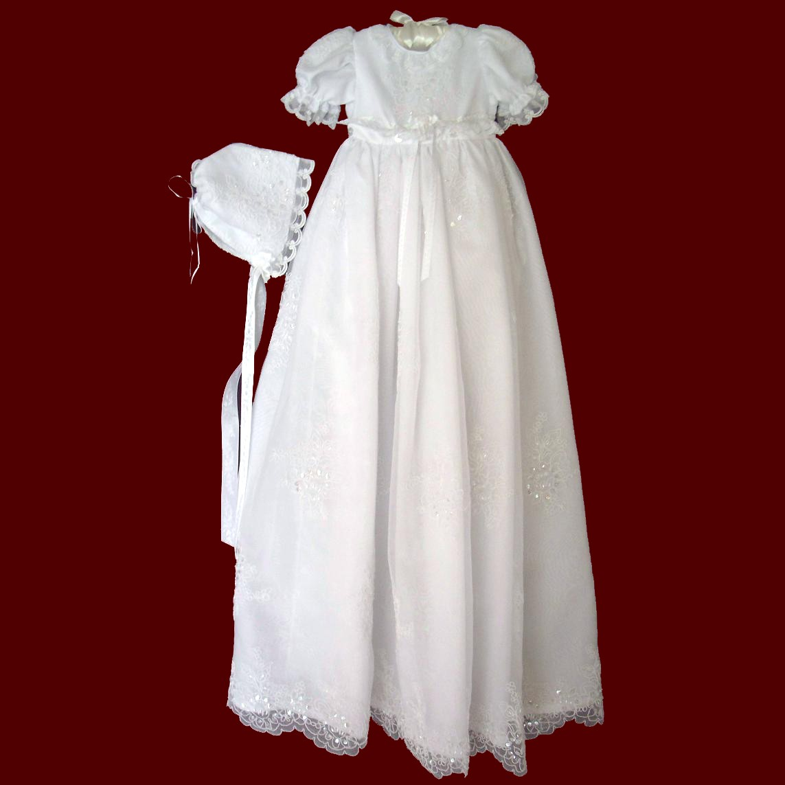 Beaded Organza Detachable Girls Christening Gown