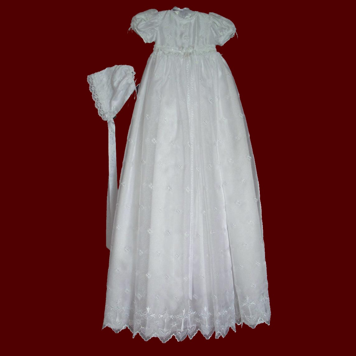 4ff702b3a Iridescent Embroidered Crosses Christening Gown - Smocked Treasures