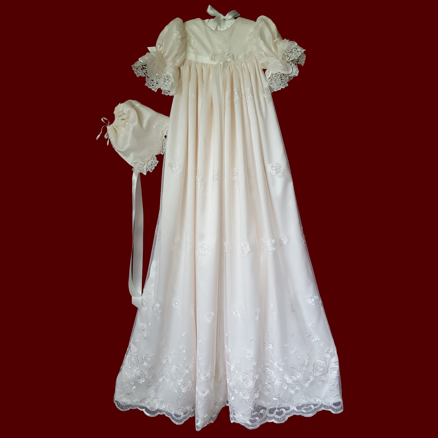 Ivory Iridescent Sparkle Embroidered Netting Christening Gown & Bonnet
