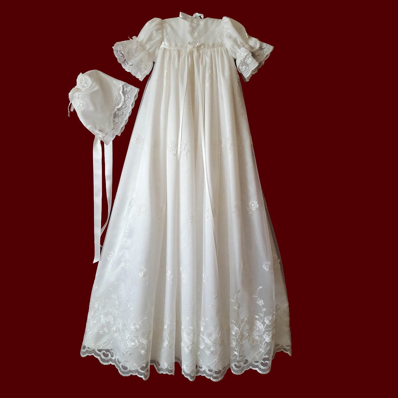 Iridescent Sparkle Embroidered Netting Christening Gown & Bonnet