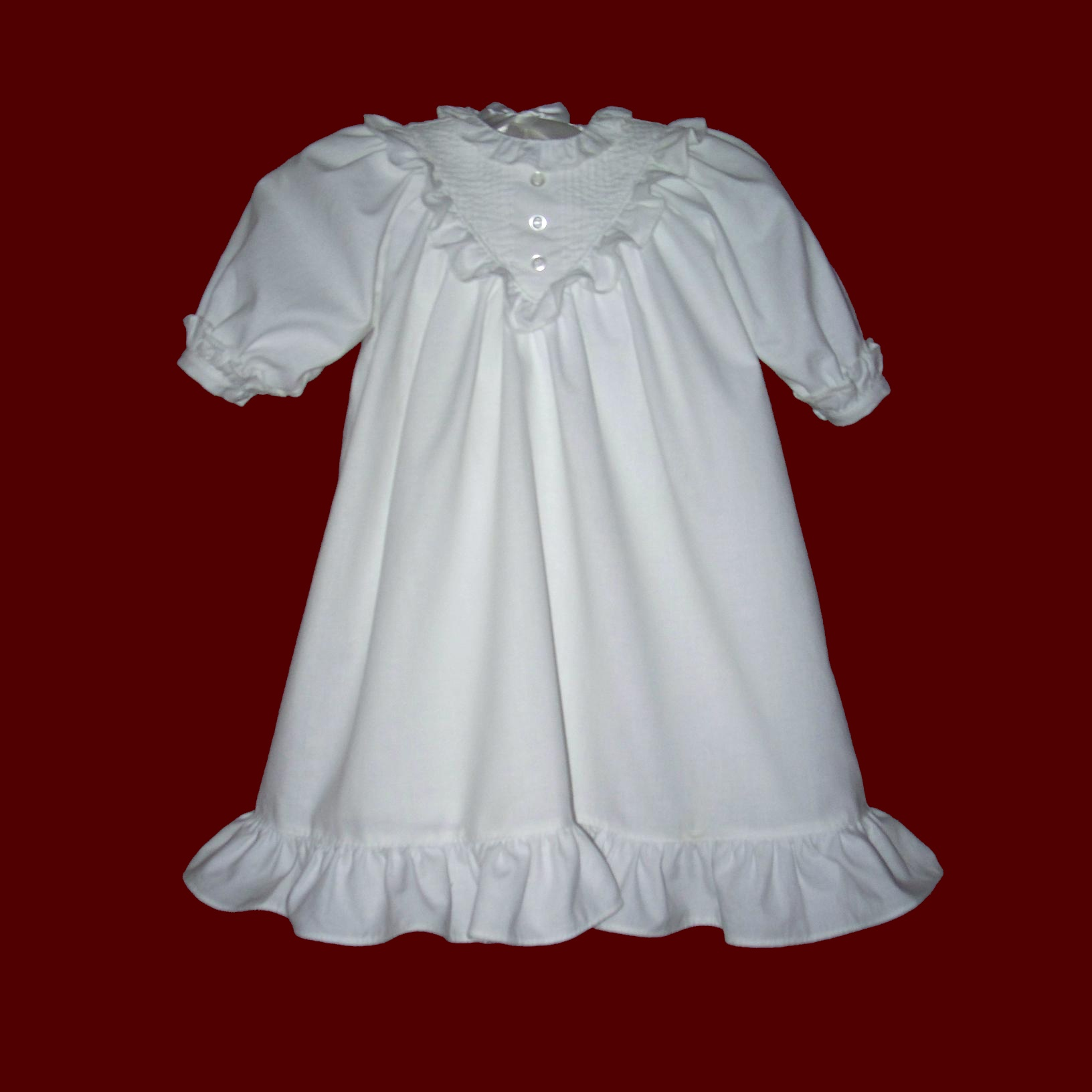 Traditional Cotton Tucked Christening Gown & Bonnet