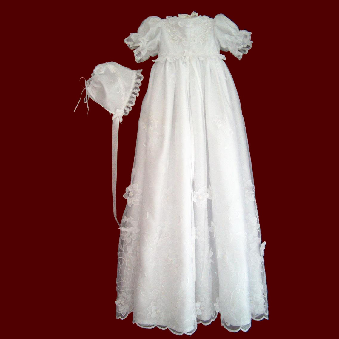 Christening Gowns From Wedding Dresses: Beaded Organza With Flowers Christening Gown, Slip