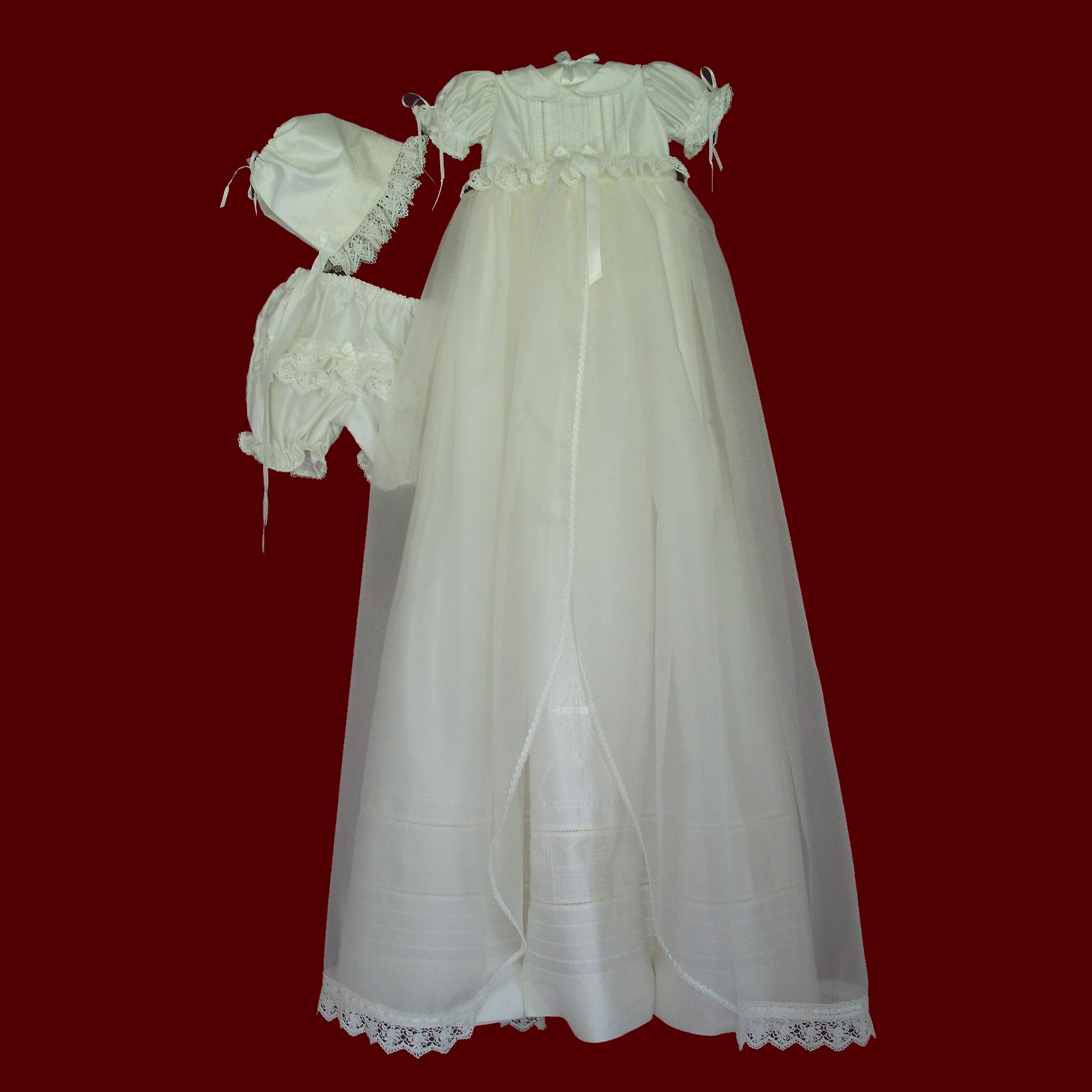 Girls Overlay Detachable Gown With Dress, Panties & Bonnet