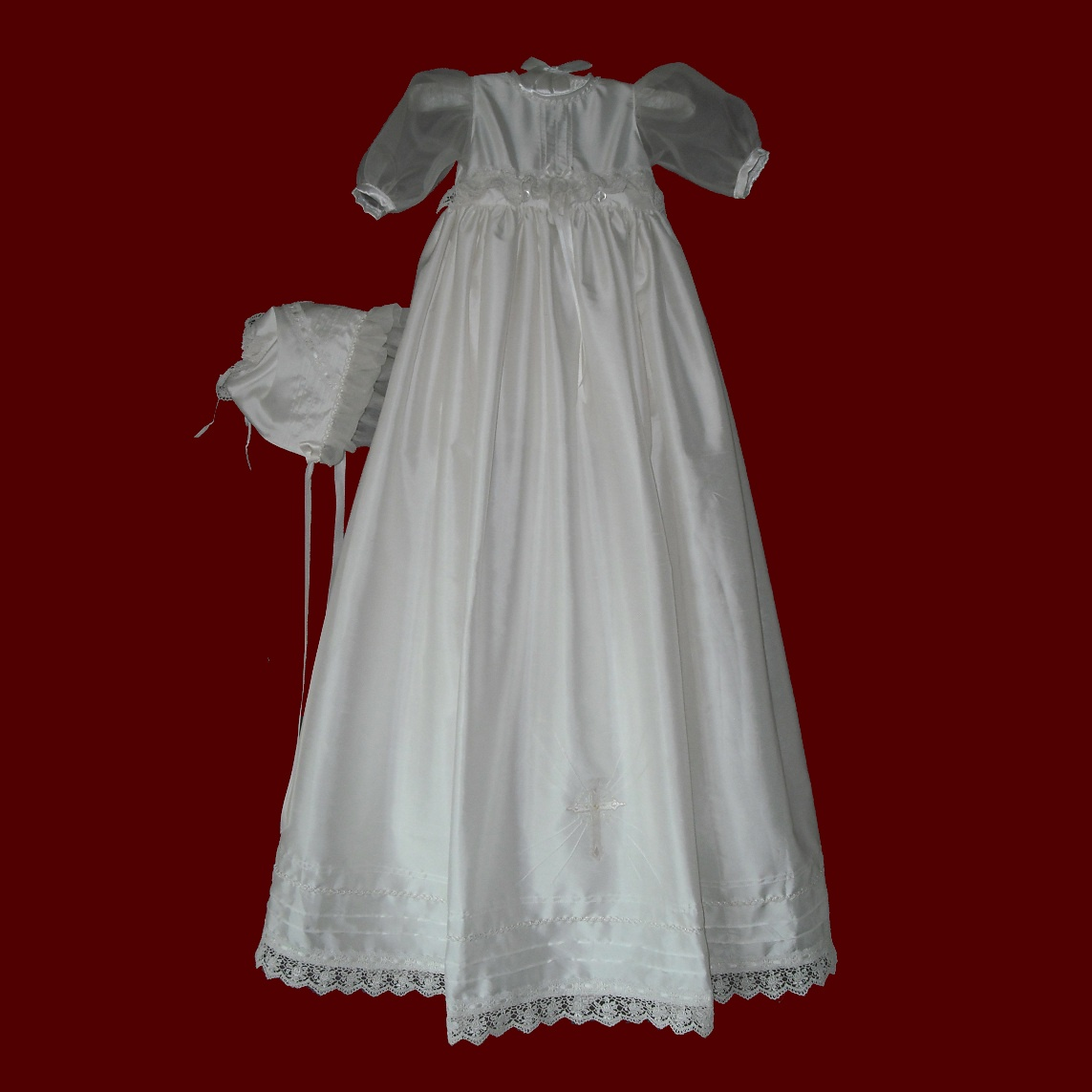 Silk Girls Christening Dress With Detachable Gown & Bonnet