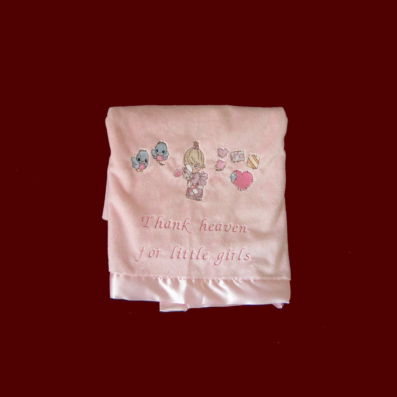 Click to Enlarge Picture - Thank Heaven For Little Girls Embroidered Blanket