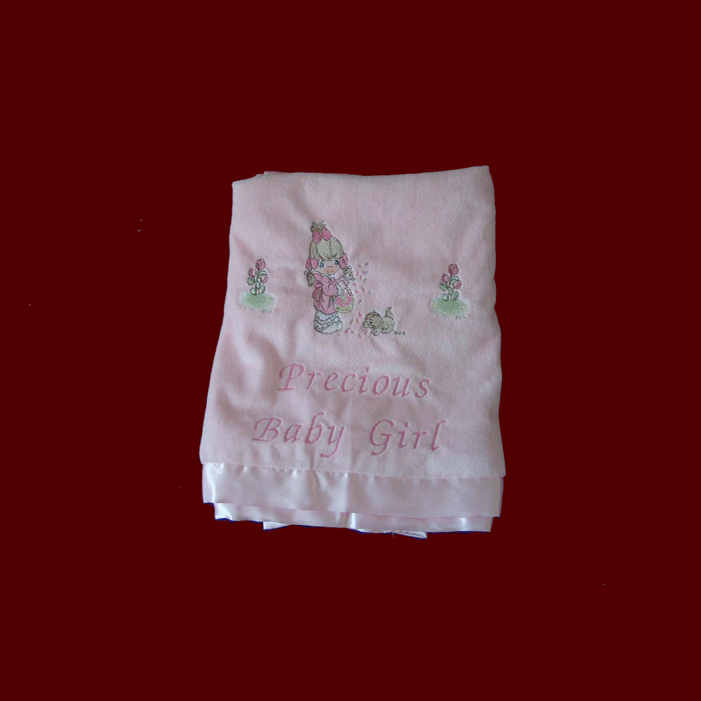 Precious Baby Girl Embroidered Blanket