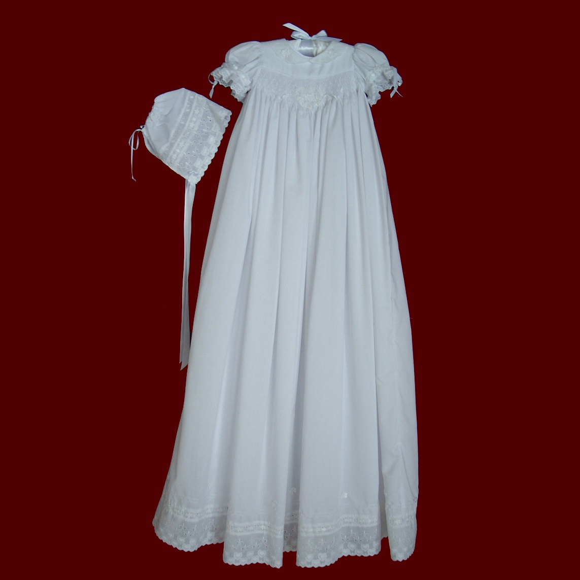 Hand Smocked Girls Christening Gown With Irish Accents