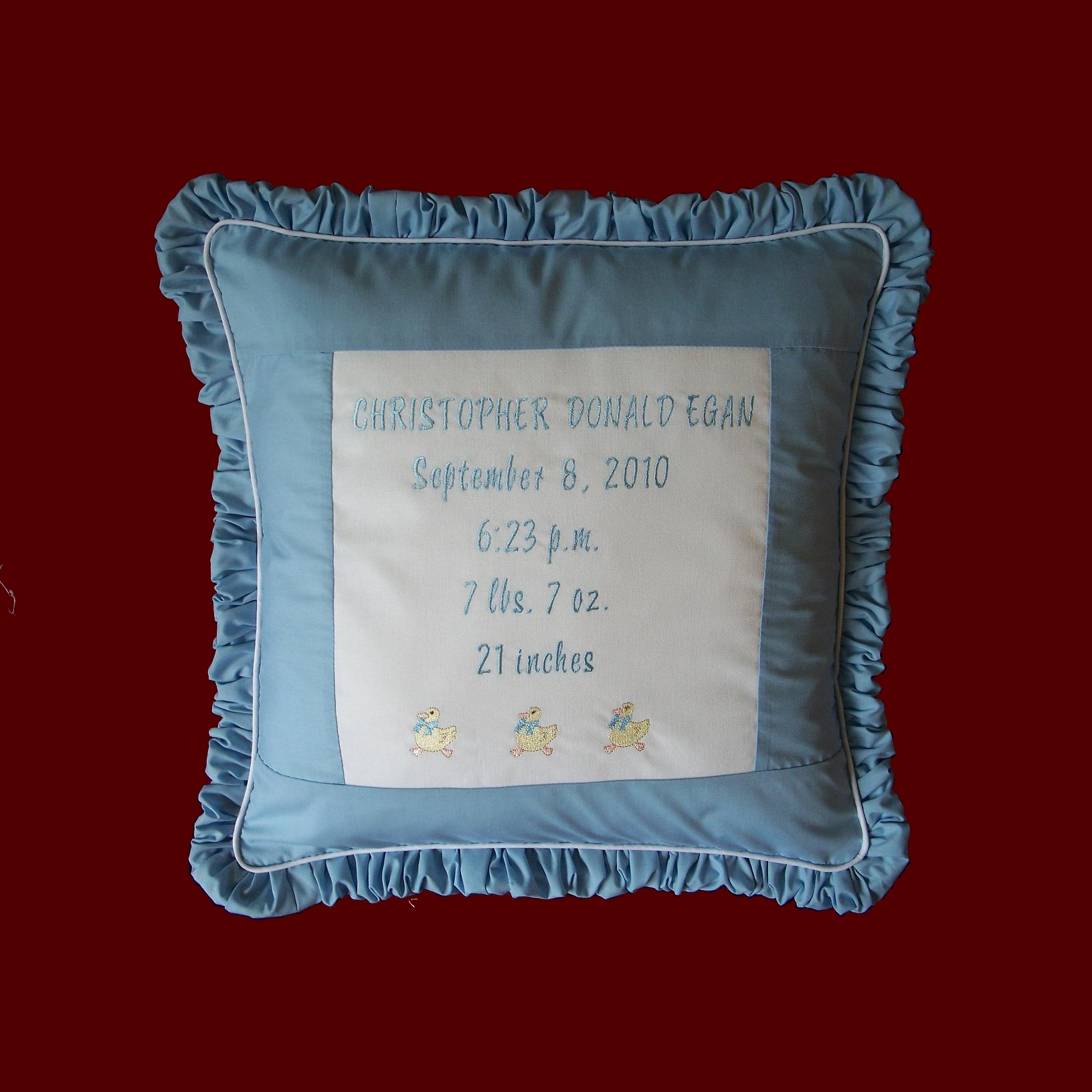 Click to Enlarge Picture - New Baby Personalized  Duckies Keepsake Pillow