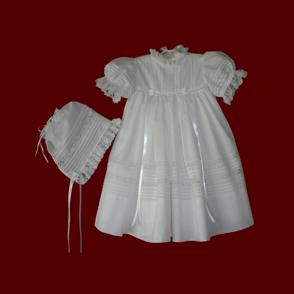 Heirloom Swiss Batiste Christening Dress & Bonnet