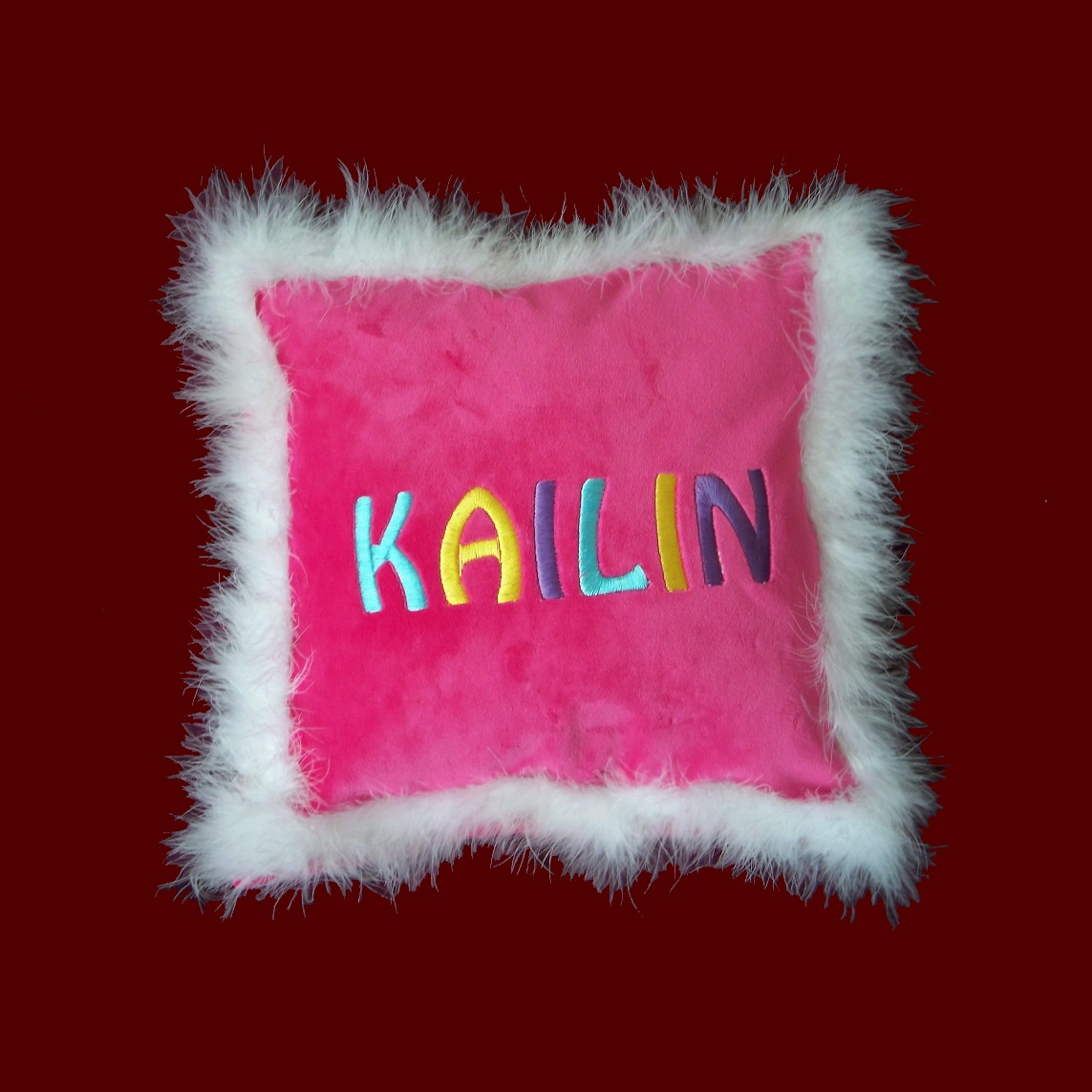 Girls Personalized Minky Pillow With Boa