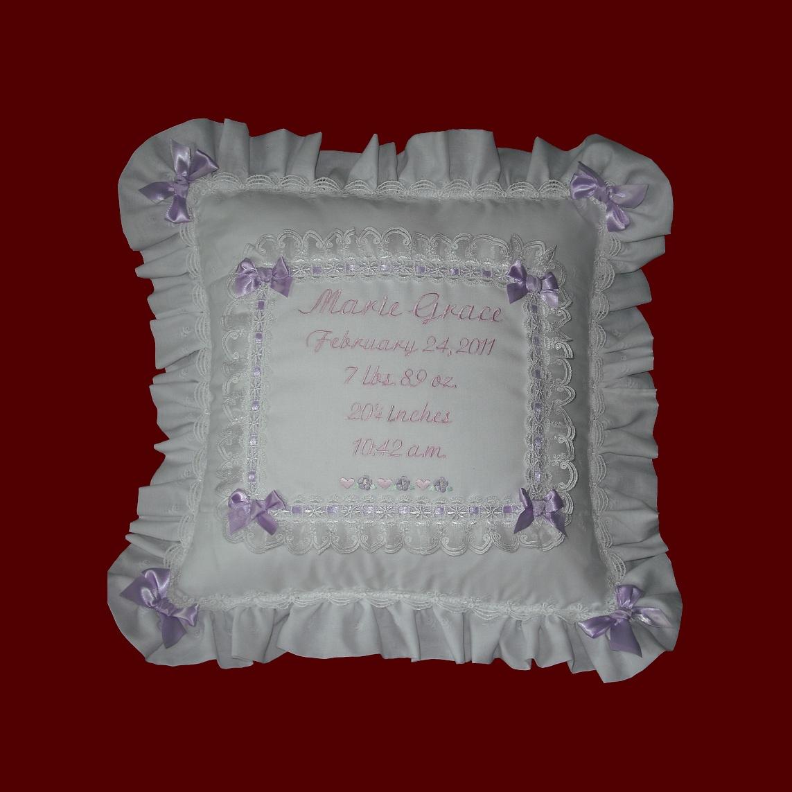 personalized keepsake baby girl eyelet pillow pillows smocked treasures. Black Bedroom Furniture Sets. Home Design Ideas