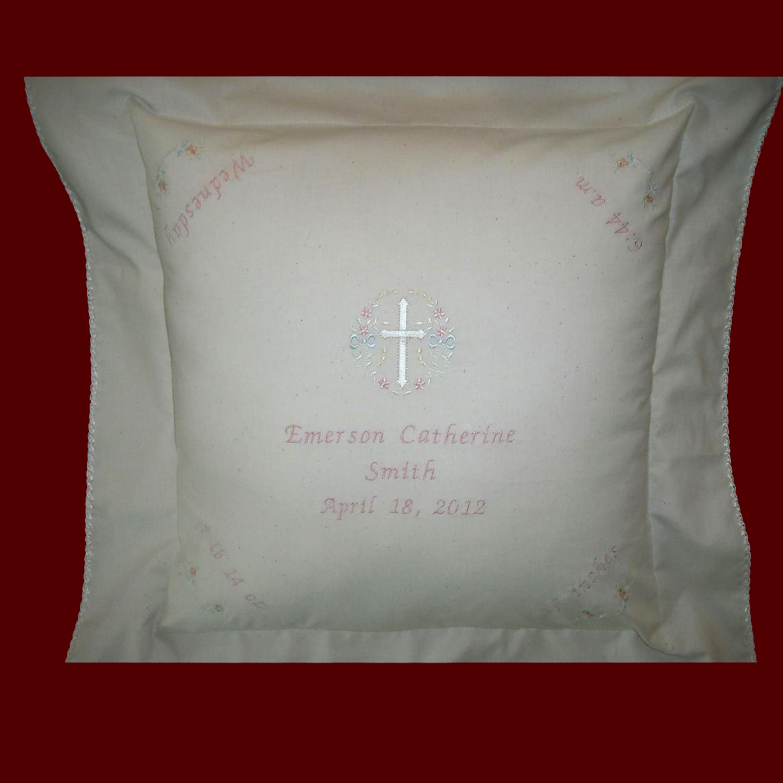 Muslin Keepsake Personalized Baby Pillow Christening